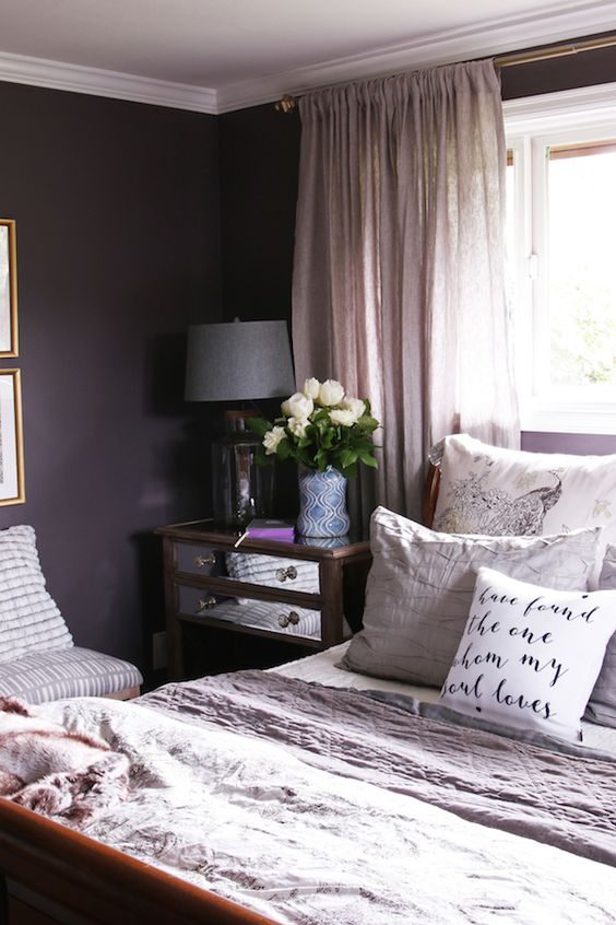 Master Bedroom Sneak Peek Black Frosted Plum Walls The Inspired Room Bedrooms Pinterest