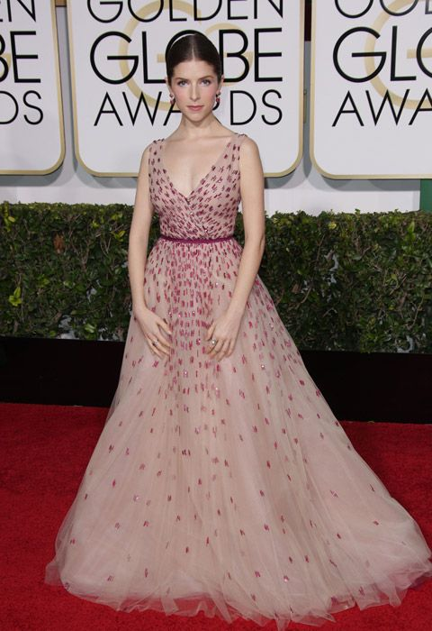 Anna Kendrick had a princess moment in Monique Lhuillier at the Golden Globes.