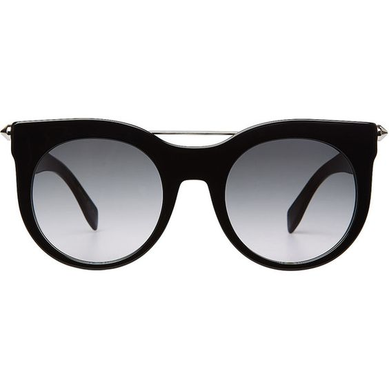 Alexander McQueen Piercing Bar Round Frame Sunglasses (£230) ❤ liked on Polyvore featuring accessories, eyewear, sunglasses, glasses, black, alexander mcqueen sunglasses, tinted glasses, metal-frame sunglasses, lens glasses and tinted sunglasses