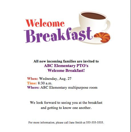 Welcome Breakfast invite! Get families together to kick off school ...