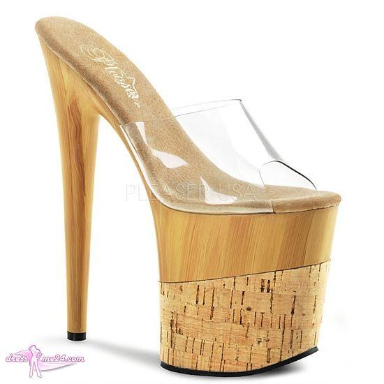 Besuche uns gern auch auf dressme24.com ;-) Plateau High Heels Flamingo-801FW - Ein Mega Plateau Heel für die Könner der Szene. Im angesagtem Holz/Korkdesign. Die gepolsterte Innensohle sorgt für höchsten Tragekomfort. Absatzhöhe 20 cm. Plateauhöhe 12 cm.  #Heels, #Highheels, #Plateauschuhe