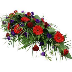 red gerberas, roses: