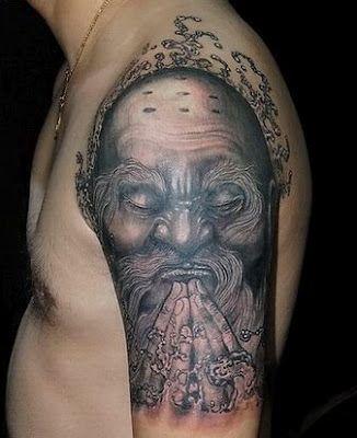 old monk praying - cool #portrait #tattoo