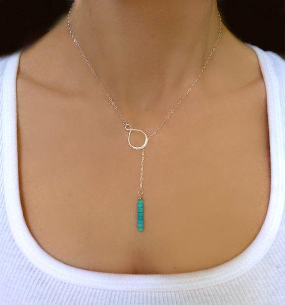 Lariat Turquoise Collier - collier de perles Turquoise véritable - Infinity-sautoir - bijoux faits main - longue Lariat or ou argent