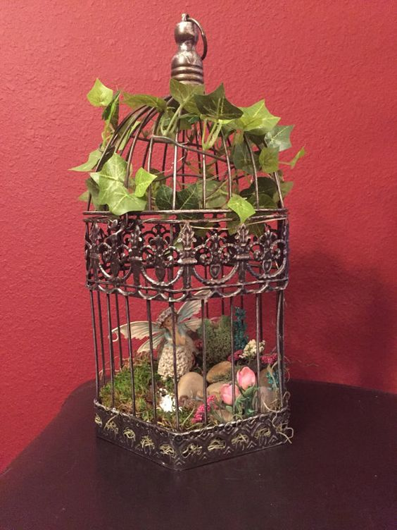 Fairy Garden Hanging Birdcage Adorable by ADragonflyCreation