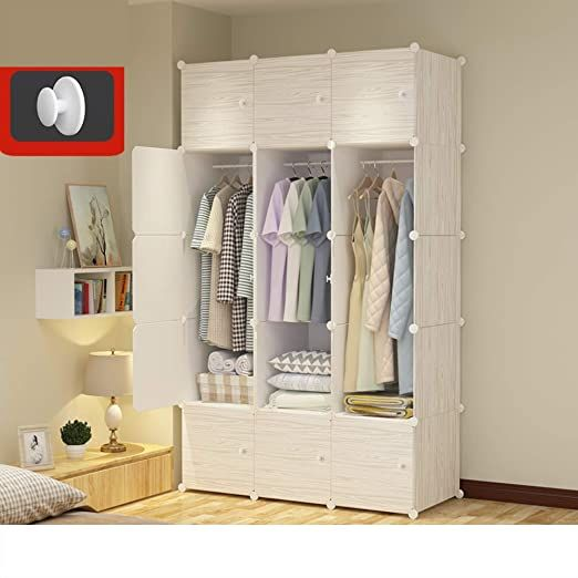 Wood Pattern Armoire Wardrobe Closet With Hanging Rod Portable Bedroom Armoire Modular Cabinet Garment R In 2020 Cube Storage Shelves Modular Cabinets Wardrobe Closet