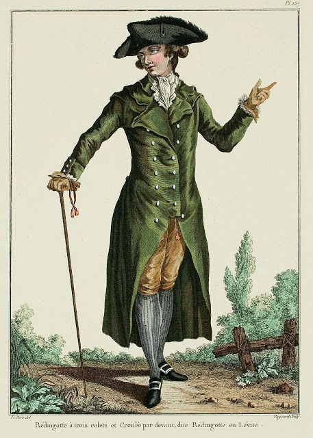 Galerie des Modes, 35e Cahier, 5e Figure  Redingote with three collars, crossed in front, called Lévite Redingote. (1781)