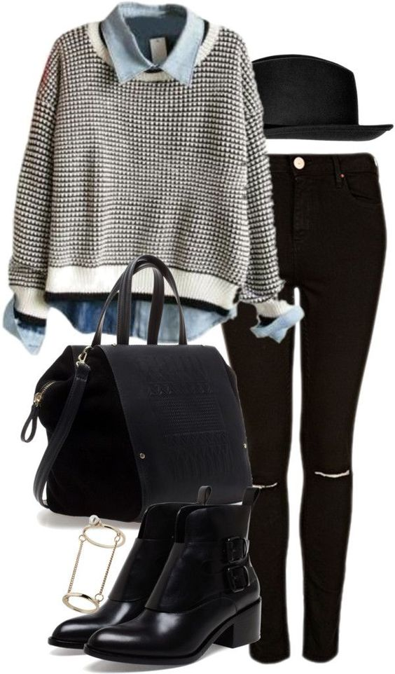 White jumper / Topshop ripped skinny jeans, $41 / Alexander Wang leather ankle boots, $655 / Zara bag / Topshop midi ring / Topshop black fe...:
