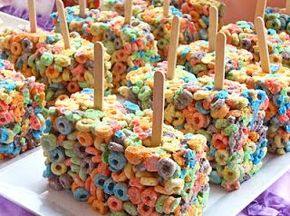 Perfect for a birthday party.....Fruit Loop treats instead of Rice Krispies!