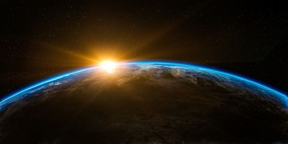 Sunrise, Space, Outer Space, Globe, World, Earth, Flare