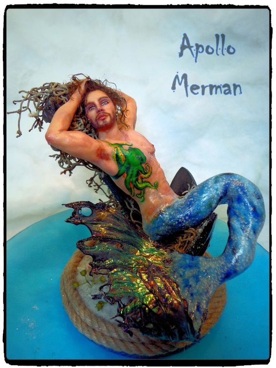 Apollo Merman Art Doll Sculpture by Art Dolls by Vicci Noel