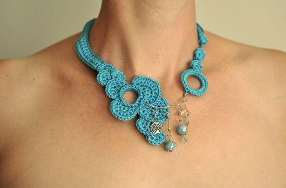 Collier Fait Main Fil De Fer : Collier mandala fait main en macram? crochet et turquoise