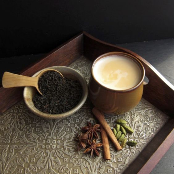 India: Tea in India has a long history in traditional systems of medicine and for consumption. One of the most popular brews, the Indian Masala Chai, is made of strong black Indian tea that is infused with spices such as cinnamon, nutmeg, cloves and ginger.
