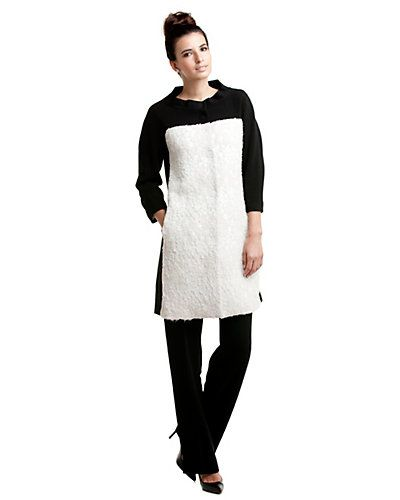 Rachel Roy White & Black Mod Car Coat