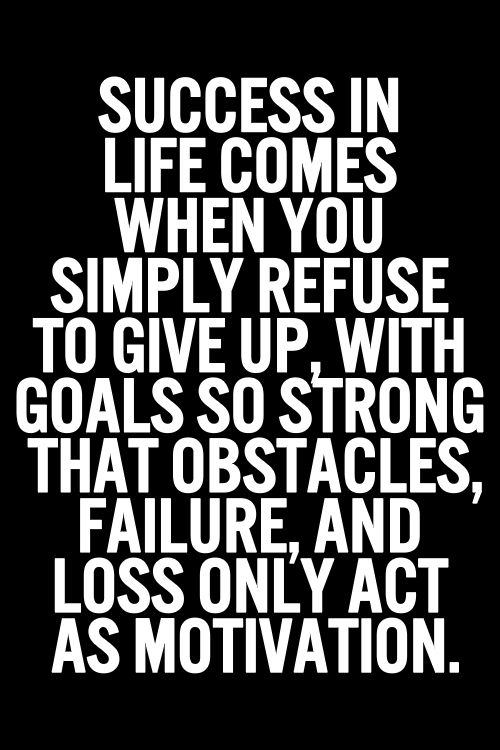Success in life comes when you simply refuse to give up, with goals so strong that obstacles, failure, and loss only act as motivation.: