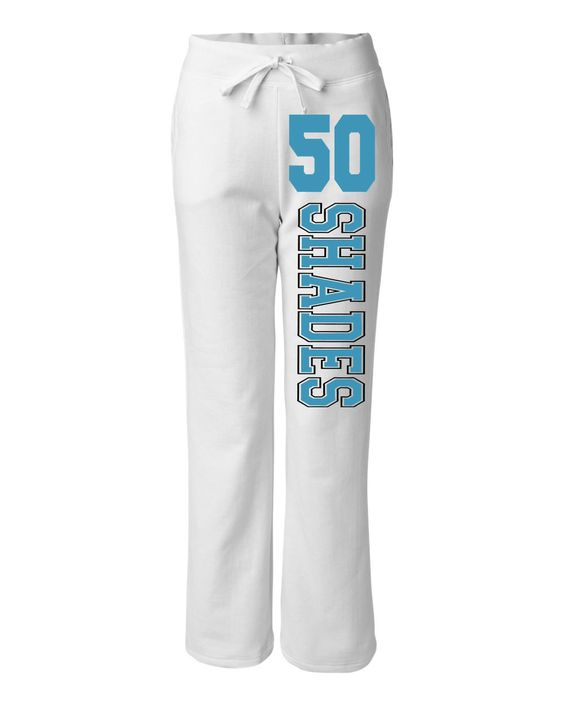 """50 Shades of Grey """"Laters, Baby"""" Inspired Womens Sweat Pants - White/Teal. $26.99, via Etsy."""