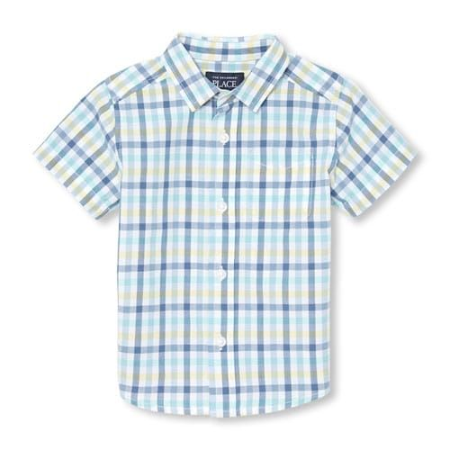 The Childrens Place Baby Boys Toddler Plaid Poplin Button Down Shirt
