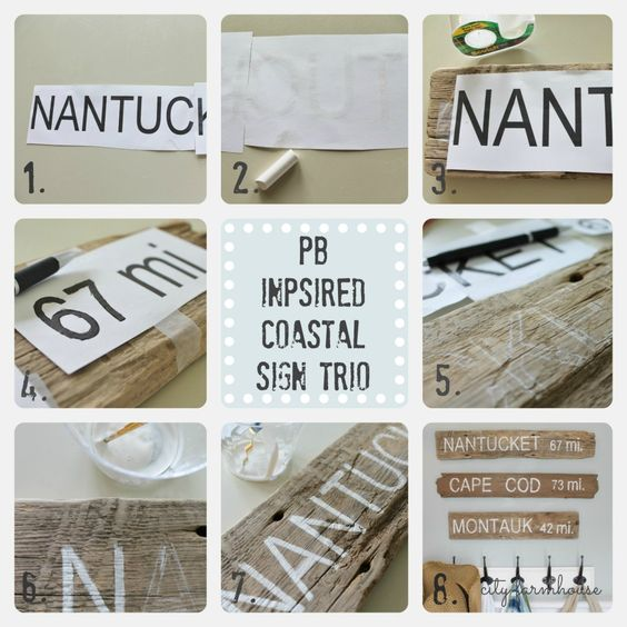 Pottery Barn Inpsired Coastal Sign Trio FULL Tutorial. The easiest way to make a sign @ City Farmhouse.