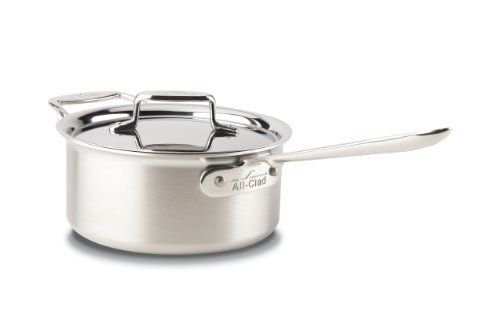 All-Clad Brushed Stainless D5 3-Quart Sauce Pan with Lid by All-Clad. $255.00. 18/10 stainless steel cooking surface will not react with food. Stainless steel handles are permanently secured with stainless steel rivets. Dishwasher, oven and broiler safe. 3-quart sauce pan is a versatile, necessary everyday pan. Compatible with all cooktops, optimal for induction. All-Clad Brushed Stainless D5 3-quart Sauce Pan features high straight sides and a smaller surface area, the sau...