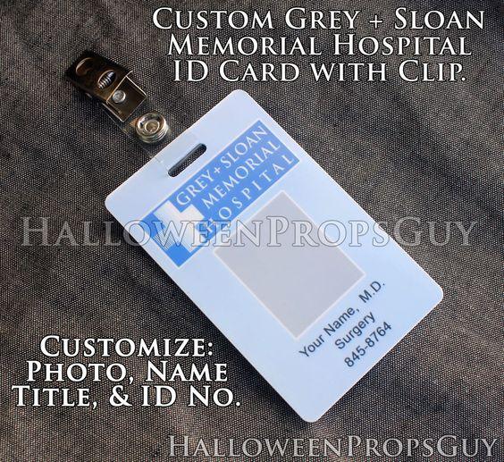 GREY'S ANATOMY CUSTOM Grey + Sloan Memorial Hospital PVC ID Card Badge USA