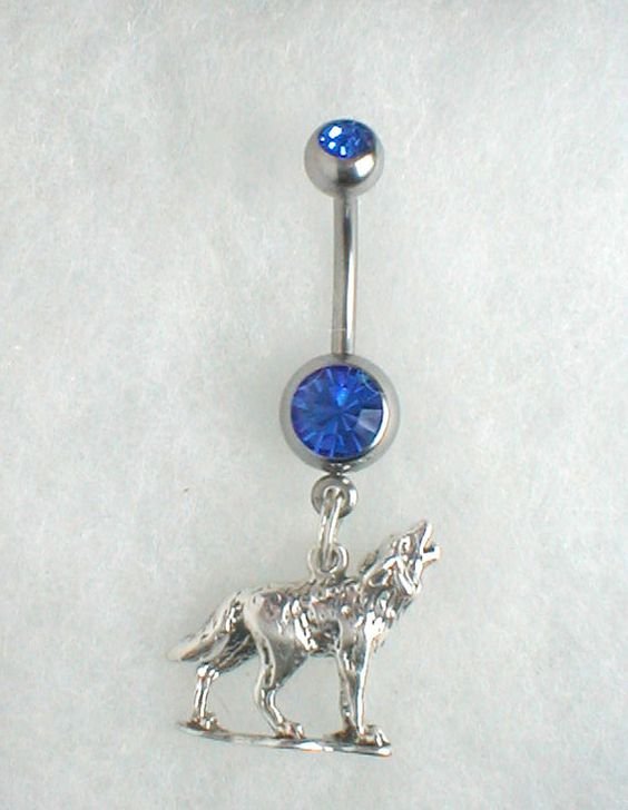 unique navel belly ring sterling silver wolf belly