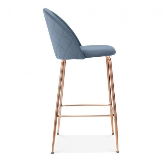 Remarkable Luxe Quilted Velvet Bar Stool 75 Cm Copper Brass Black Alphanode Cool Chair Designs And Ideas Alphanodeonline