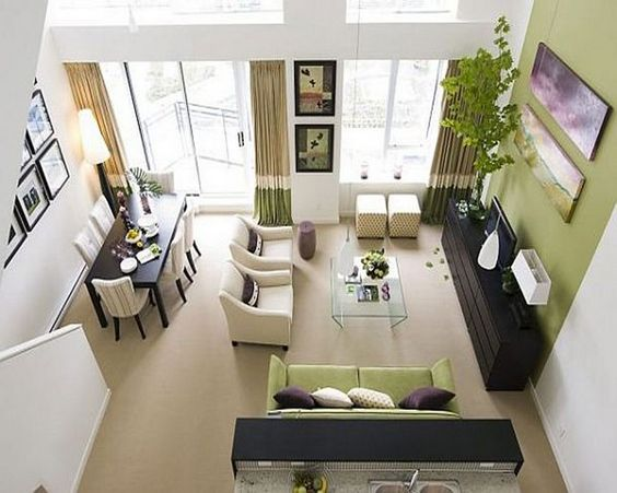Adjoined living and dining rooms