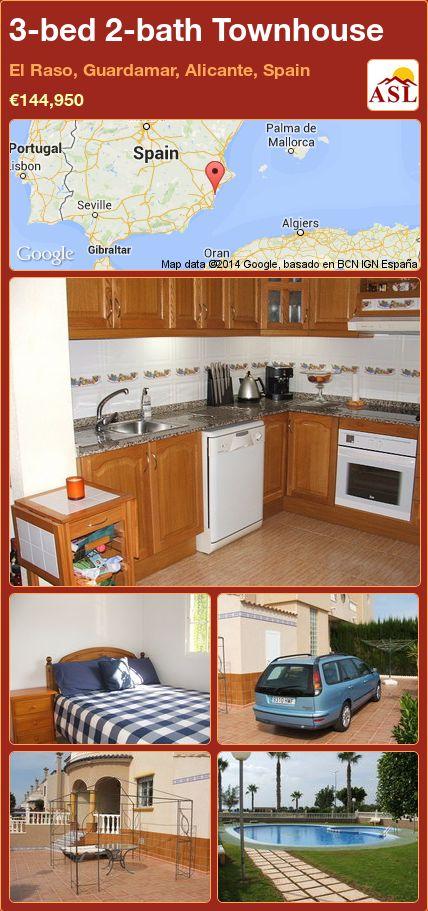 3-bed 2-bath Townhouse in El Raso, Guardamar, Alicante, Spain ►€144,950 #PropertyForSaleInSpain