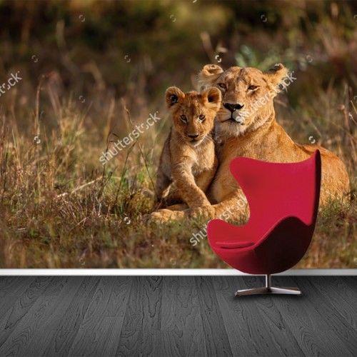 Fotobehang Moeder en welpje | Maak het jezelf eenvoudig en bestel fotobehang voorzien van een lijmlaag bij YouPri om zo gemakkelijk jouw woonruimte een nieuwe stijl te geven. Voor het behangen heb je alleen water nodig!   #behang #fotobehang #print #opdruk #afbeelding #diy #behangen #leeuw #leeuwin #welp #welpje #dieren #dier #katachtige #moeder
