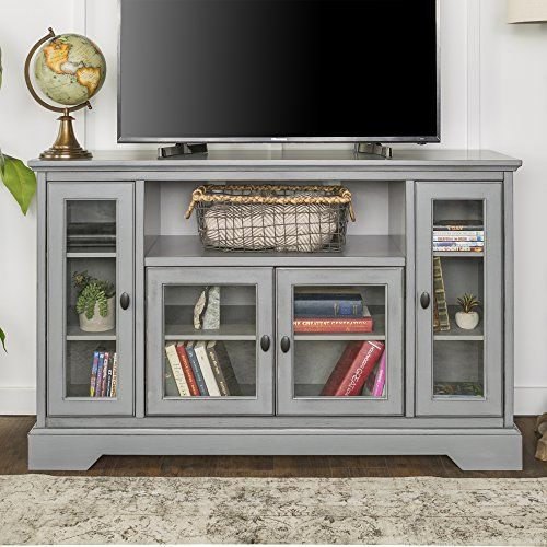 New 52 Inch Wide Highboy Television Stand In Antiqued Grey Finish Tv Stand With Storage Highboy Tv Stand Tv Stand