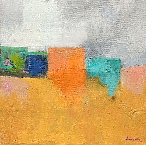 """Petrichor 76"""" Original Öl Landschaft auf Leinwand 8"""" x 8 """"x 1"""" abstrakt, zeitgenössische, rot, blau, grün, gelb Sale!!!"""
