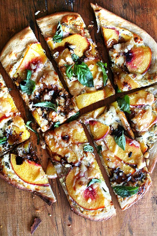 nectarine pizza with basil and balsamic