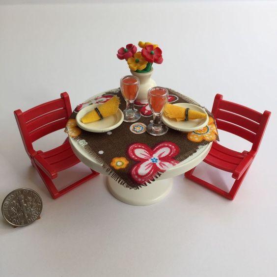 Playmobil Custom White Patio Café Table Red Folding Chairs Mansion Dollhouse | eBay