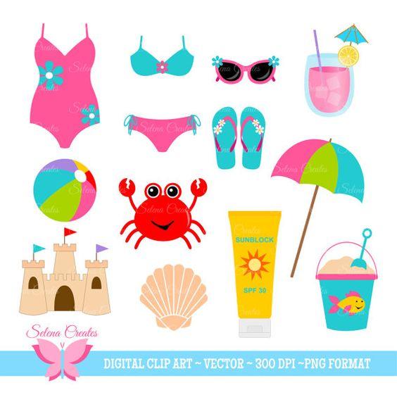 Beach Clipart Set Digital Clipart Clip Art Beach by SelenaCreates
