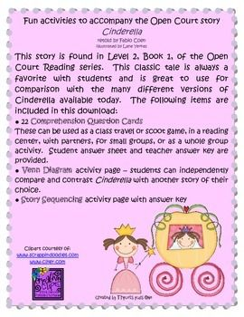 Fun Activities to accompany the Open Court Story Cinderella $