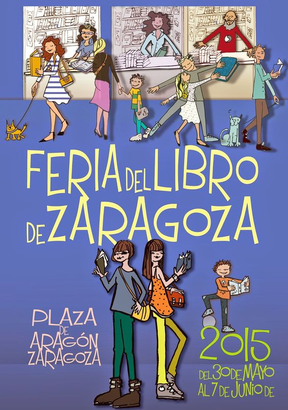 Cartel Día del Libro y Feria del Libro de Zaragoza 2015: