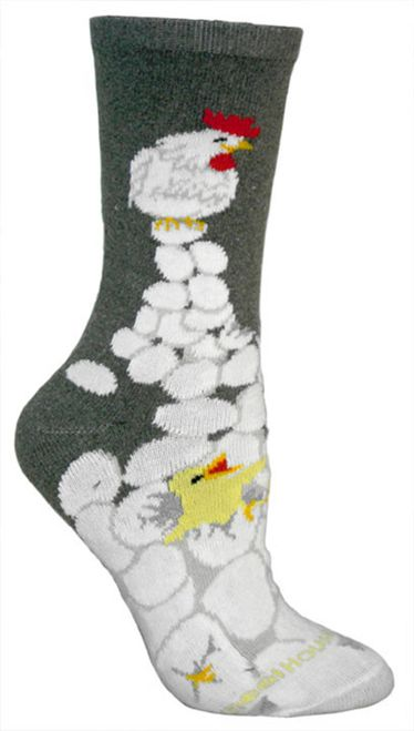 These Chicken and eggs Gray Cotton ladies socks are a nice addition to any…
