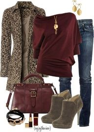 There's that burgundy color I like again. And that coat, yummy. I love jeans like that, if they would just cooperate and fit me decently.