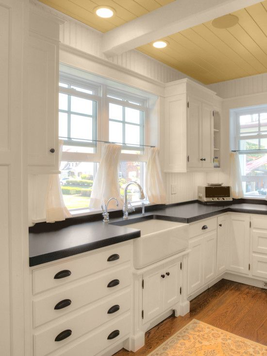 Kitchen Details Beadboard Backsplash And Walls Farmhouse Sink Soapstone Counters And Wood