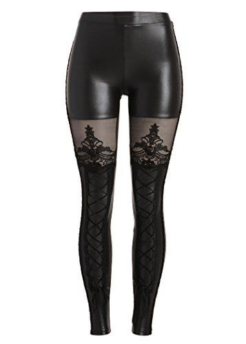 Punk Rave Women's Victorian Style Macbeth Faux Leather Look Leggings with Lace  Price : $34.90 http://www.pretty-attitude.com/Punk-Rave-Victorian-Macbeth-Leggings/dp/B00F77KHUY