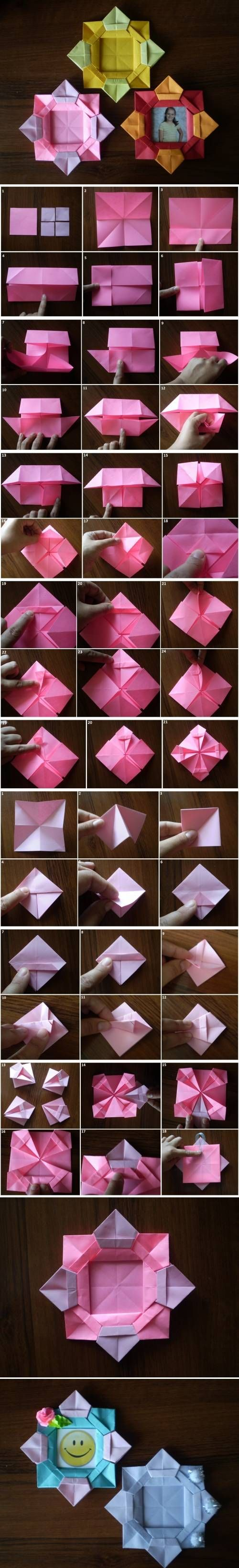 How to make origami flower picture frame step by step diy for Flower making ideas step by step