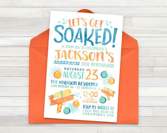 water bash party invitation for boys - personalized | party, Party invitations