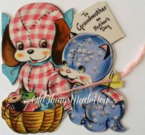 Vintage-MOTHERS-DAY-Greeting-Card-Puppy-Kitty-Sewing-Basket