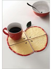 Sew this adorable set of coasters that come together to create a perfect apple. Pattern is $4.00