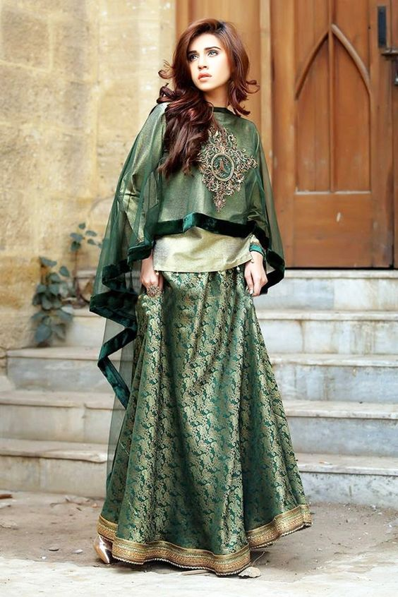 Fancy Green Shirt with lehnga