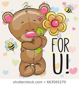 Greeting Card Bear With Flower On A Heart Background Desenho De