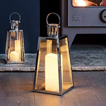 Lights4fun Large Stainless Steel Battery Operated Led Candle Lantern 28cm Amazon Co Uk Amazon Co Uk Led Lantern Battery Lantern Candle Lanterns