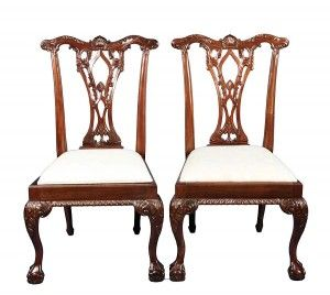 Pair of Vintage Chippendale Mahogany Ball and Claw Foot Dining Chairs - English Classics Atlanta