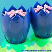 Blue Me Away - 2 Blue Fire Blossoms  www.fireblossomcandle.com  A unique cake candle for your birthday party
