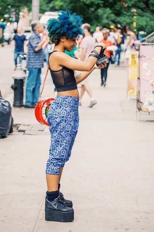 afro hair, afro hairstyle, curly hair, black women street style, black girls, fashion, platform shoes, blue hair, colorful hair: